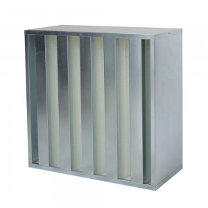 GALVANIZED FRAME HEPA FILTERS V-BANK DESIGN-292MM HIGH CAPAC